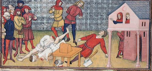 Quelle: British Library. Hinrichtungen, aus einer Handschrift des späten 14. Jahrhunderts der Chroniques de France (Royal 20 C. VII fol. 133v).
